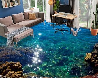 3D Clear Deep Blue Sea 8651 Floor Wallpaper Murals Self-Adhesive Removable Kitchen Bath Floor Waterproof floor Rug Mat Print Epoxy YOYO