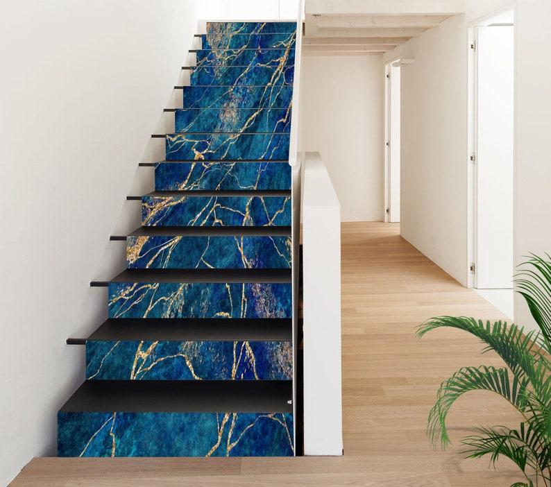 3D Blue Slate SS0332 Pattern Tile Marble Stair Risers Decoration Photo Self-adhesive Mural Vinyl Decal Wallpaper Murals Wallpaper Mural