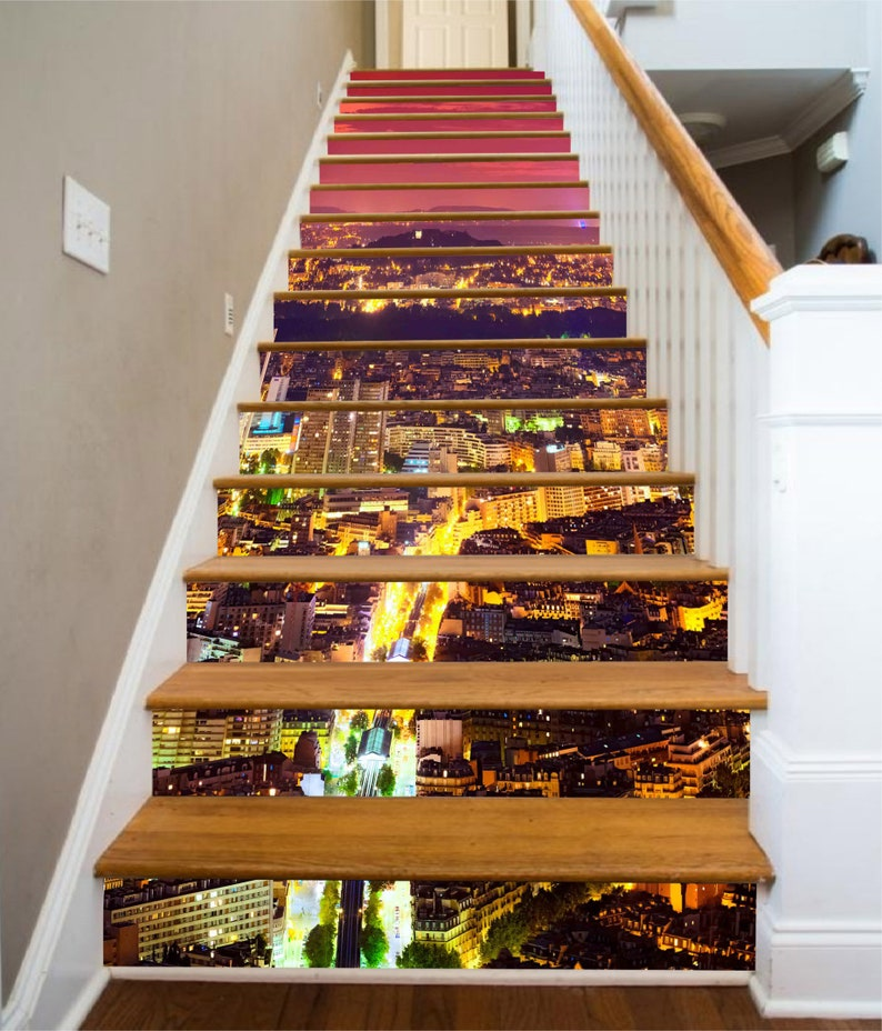 3D Night City SS0738 Pattern Tile Marble Stair Risers Decoration Photo Self-adhesive Mural Vinyl Decal Wallpaper Murals Wallpaper Mural