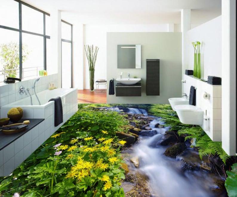 3D Forest River 0161 Floor Wallpaper Murals Self-Adhesive Removable Kitchen Bath Floor Waterproof floor Rug Mat Print Epoxy YOYO