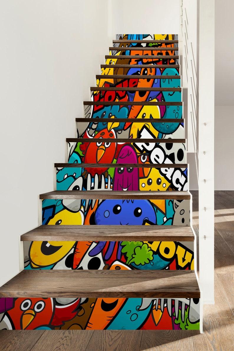 3D Cartoon Pig SS0080 Pattern Tile Marble Stair Risers Decoration Photo Self-adhesive Mural Vinyl Decal Wallpaper Murals Wallpaper Mural