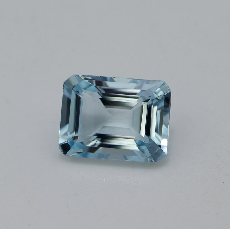 9.8x7.3 MM High Quality Aquamarine Emerald Cut Super Lustrous Loose Gemstone Fine Jewelry 2.5 Cts AAA+Grade Natural Top Blue AQUAMARINE