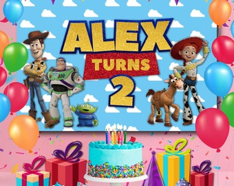 Toy Story Backdrop Birthday Party Event Backdrop Photography baby Birthday banner 5ft x 7ft Printed