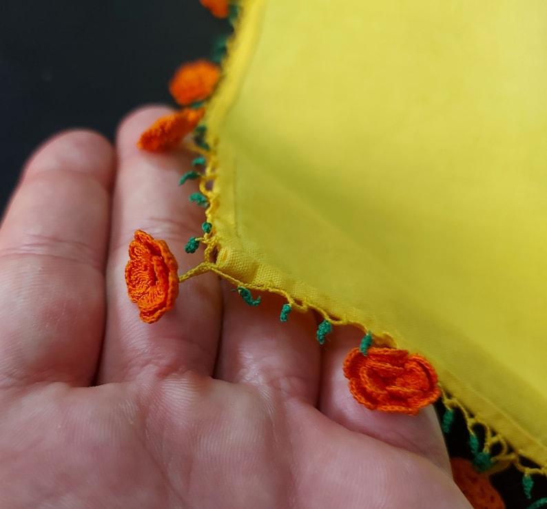 Embroidery Hanky with Flowers Lace Border and Corners Floral Hankie Vintage Yellow /& Orange Edge Hankie Flower Corner Handkerchief