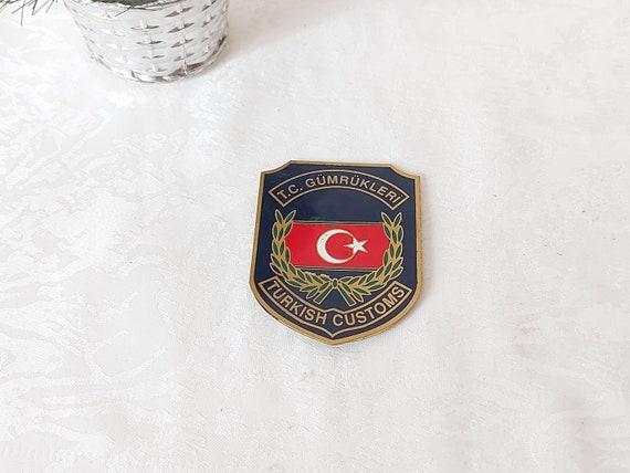 Vintage Turkish Customs Brass Badge - Turkish Flag