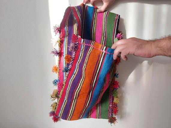 Antique hand-knitted saddlebag - Handmade madder D