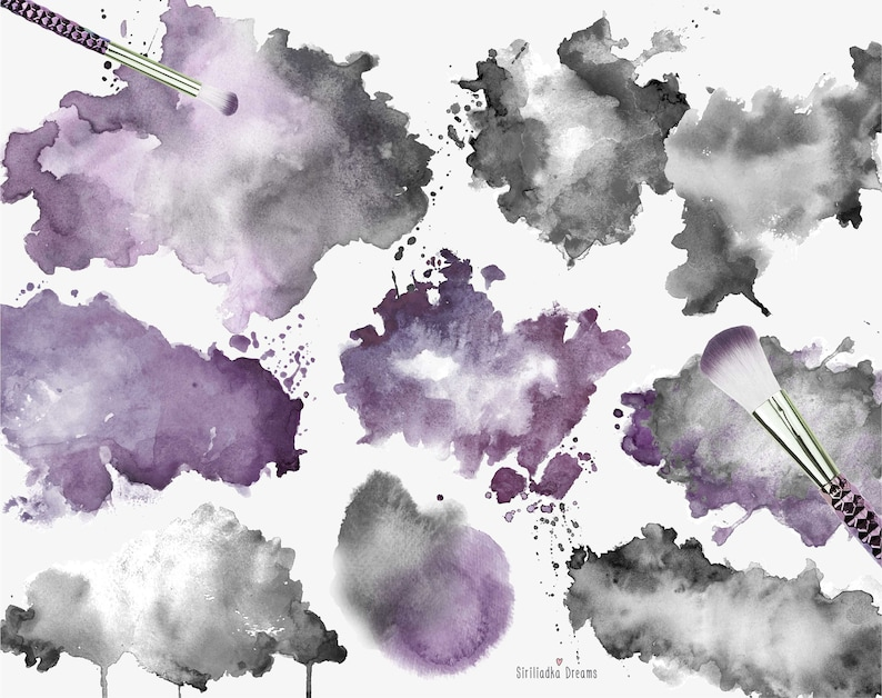 Watercolor Backgrounds PNG Abstract Texture Mystical black and dusty purple watercolor stains Wedding Clipart Clipart Splashes