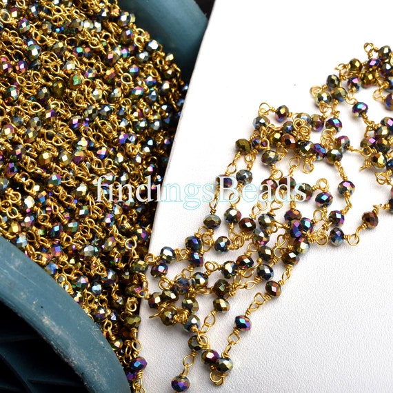 1,3,5 Feet,Light Green Hydro Beads Faceted Rondelle Beaded Rosary Chain Gold Silver Black Plated Wire Jewelry Making Crafts Bulk Wire Chain