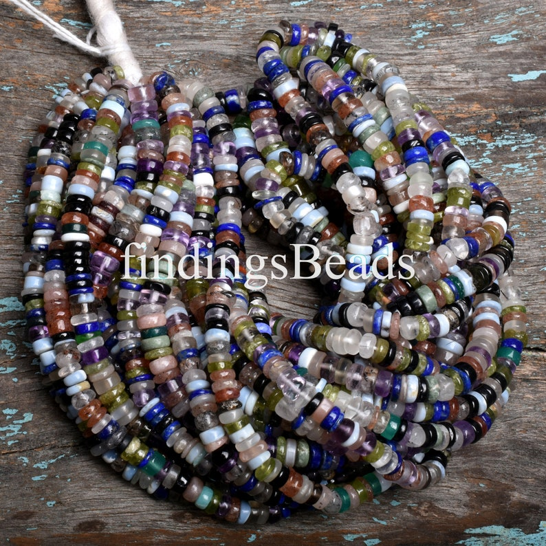 Multi Gemstone For Necklace Disco Spacer Beads Multi Gemstone Disco Tyre Beads 4.5x5.5mm Multi Gemstone Disco Beads