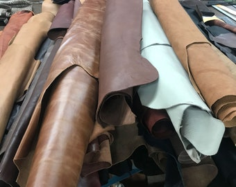 Real Whole Cowhide Leather Hide - Large Leather Pieces - approximately 6 feet x 6 feet 36 SF.  Sizes vary from one hide to another