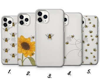 Bee Phone Case, Bumble Bee Sunflower fit for iPhone 13, 11 Pro Max, 12, Xr, Xs, SE, 8+, 7, Samsung S10e, S21, A50, Huawei P20, P30 Lite