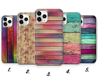 Vintage Wooden Phone Case Colourful fit for iPhone 13, 12, 11 Pro, SE 2020, XR, XS, 8+, 7, Samsung S10e, S20, S21, A40, Huawei P20, P30