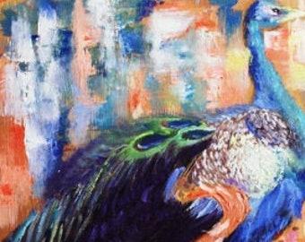 Original oil painting of Peacock