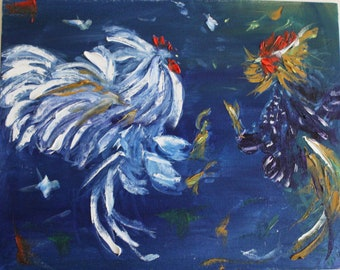 Fighting roosters. Original oil painting. Impressionists style. 16x18 inches.