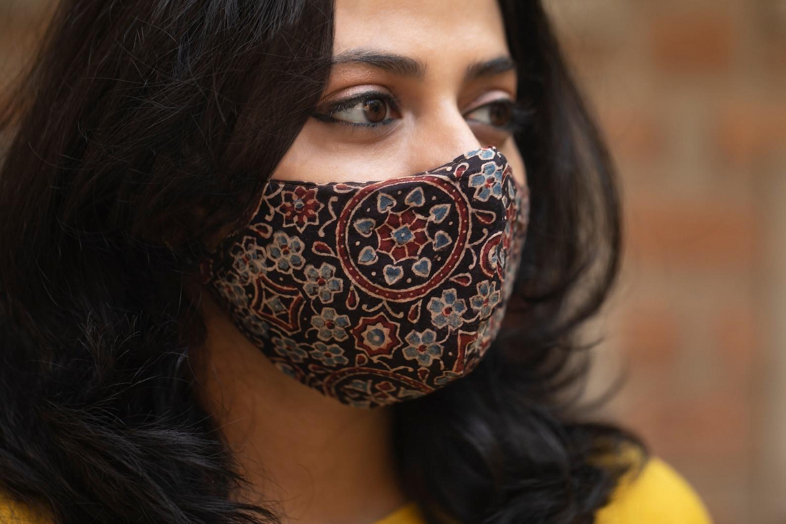 Ajrakh cotton cloth face mask