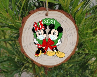 Masked Mickey Mouse Ornament Hand Painted Glass Ball Personalized Disney Christmas Ornament