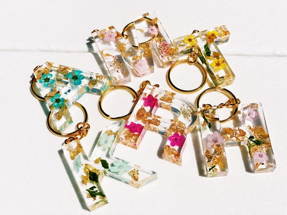 Handmade resin initial keychains
