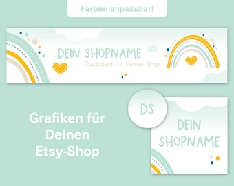 Etsy Shop Banner Set, Shop Graphic, Banner, Shop Icon and Profile Picture, Customizable, Shop Banner, mint White Yellow, Rainbow, Cloud, Heart