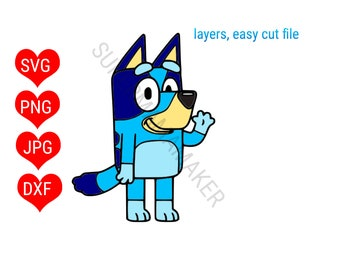 Bluey SVG, Bluey Clipart, Bluey cricut, Bluey cut files, Bluey Silhouette, layerd digital file