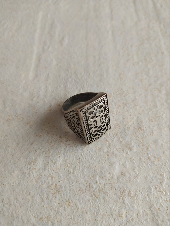 Silver tone Rectangle Ring | Carved ornament Ring