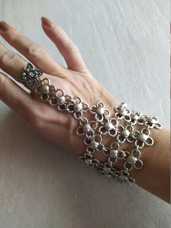 Vintage Slave Bracelet   Silver tone Slave Bracele