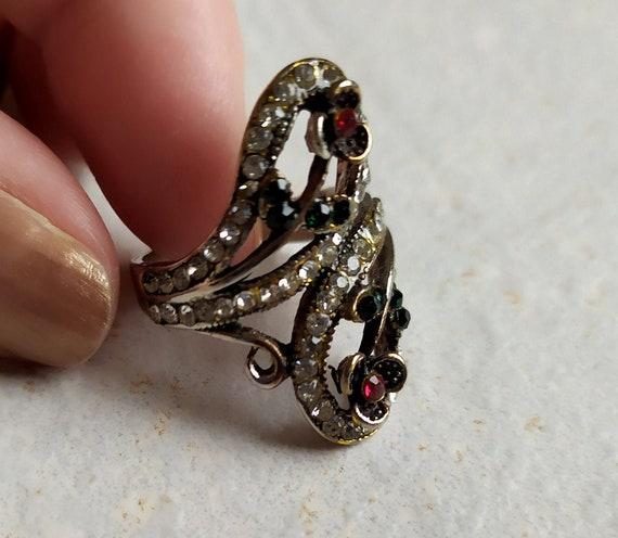 Vintage Jewelry Vintage Rhinestones Costume Jewelry Vintage Floral Red Rhinestone /& Silver Tone Metal Adjustable Ring Statement Ring