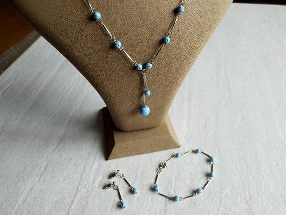 Minimalist Light Blue Jewelry Set | Silver tone Ti