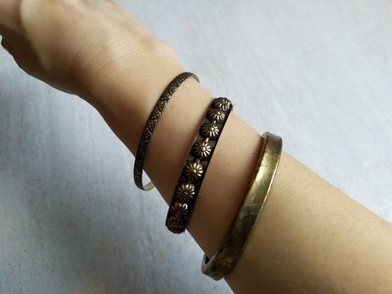 Vintage Inspired Bracelet Burgundy Embroidered Cuff Bracelet Boho Bangle
