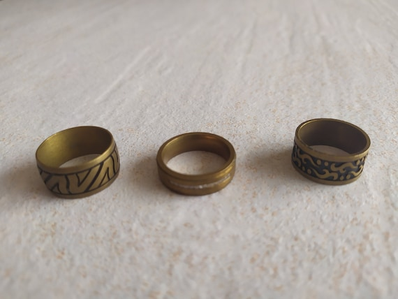 Boho Bronze tone Rings | Three Vintage Bands Rings