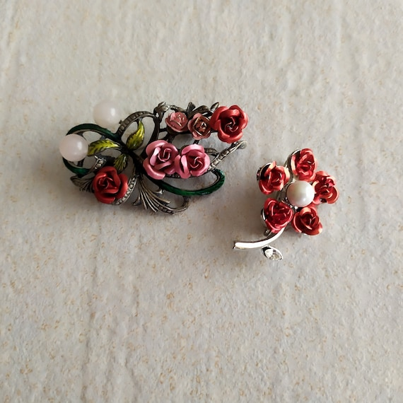 Two Roses Brooches | Red Metal Roses Brooches | Re
