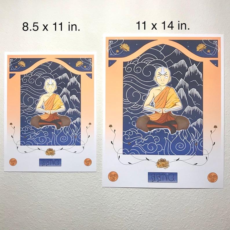 Firebending Aang Art Nouveau Print 8.5x11 11x14 Waterbending Airbending Art Print Avatar the Last Airbender ATLA Earthbending