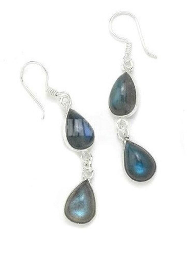 Handmade Earring Gift For Her Pear Shape Earring Silver Earring Silver Gemstone Earring Blue Color Stone Natural Labradorite Earring