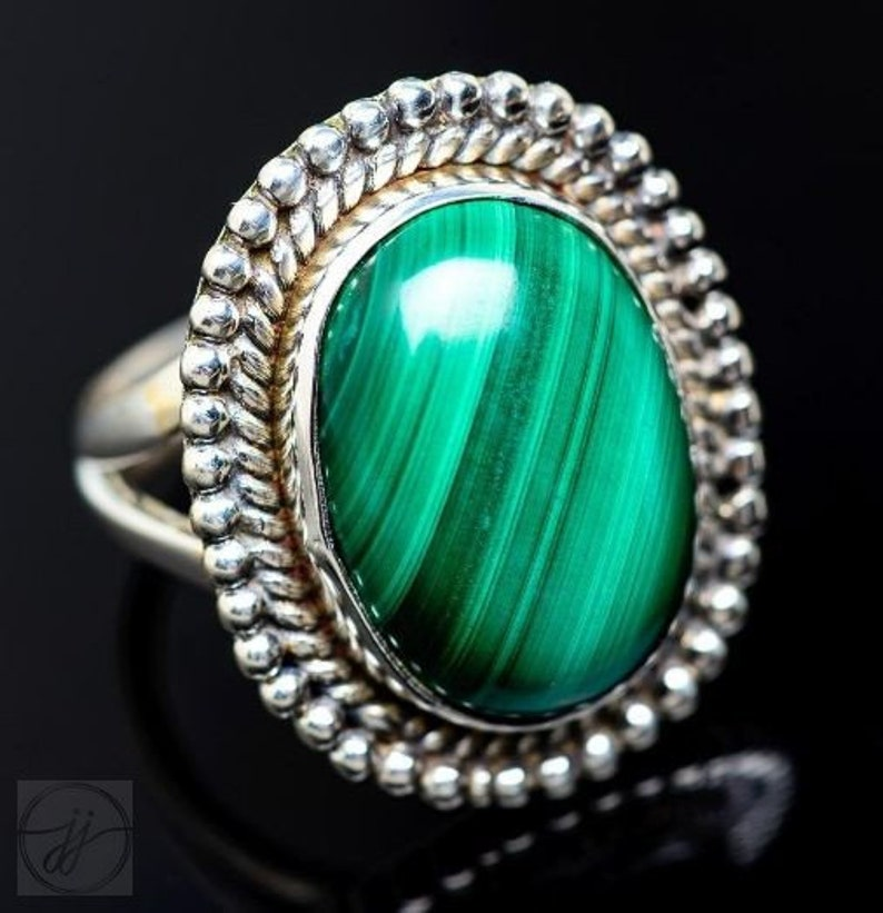 Green Color Stone Natural Gemstone 925 Sterling Silver Designer Malachite Ring Oval Shape Handmade Rope Design Ring Split Band Ring