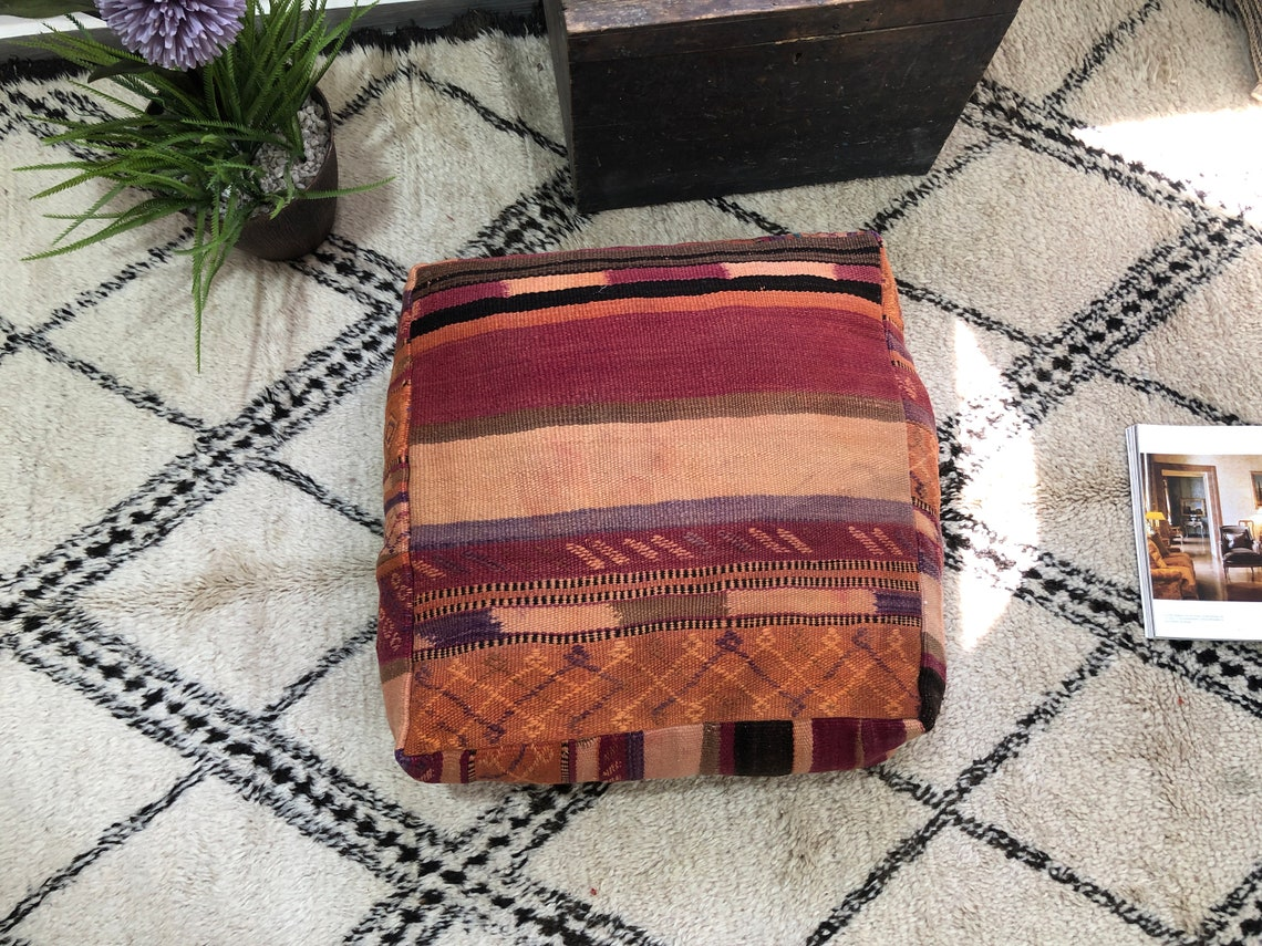 "Stunning cover pillow,throw cushion,ottoman kelim stool,old poef,24""24""8""freeshipping"