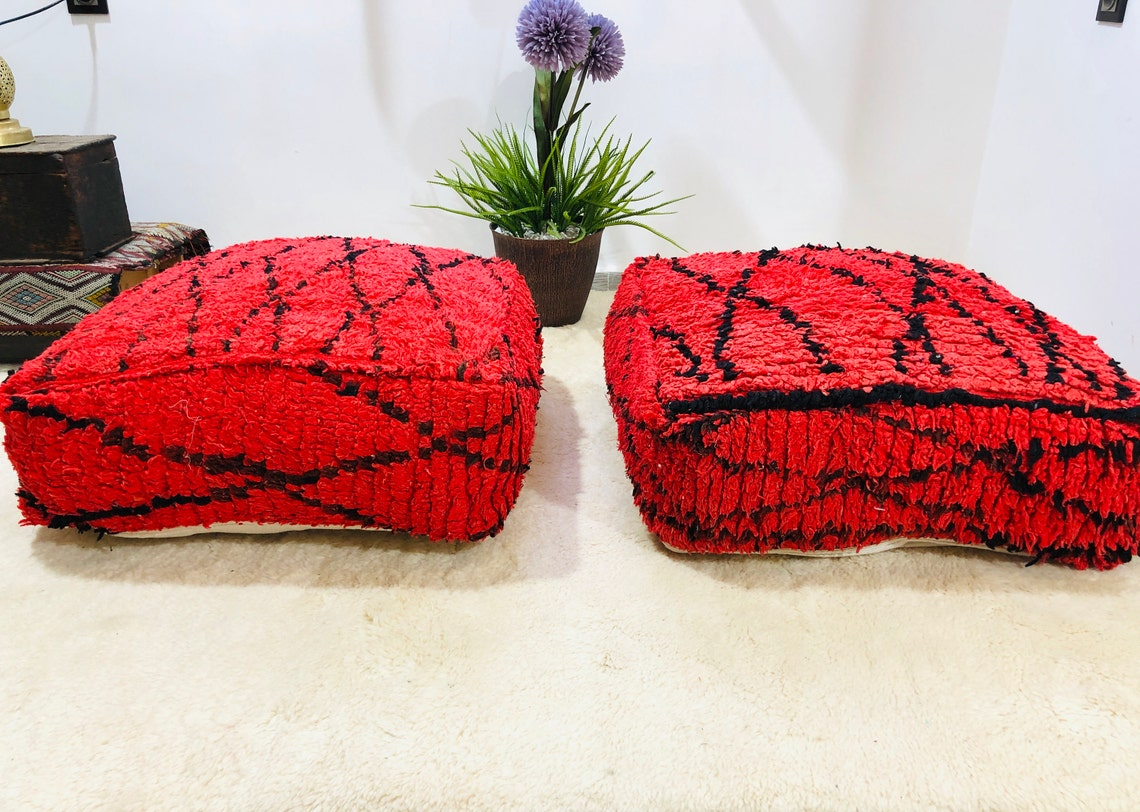 """Moroccan red pouf pillow cover seat cushion foot stool ottoman chair 24""""24""""8"""" freeshipping"""