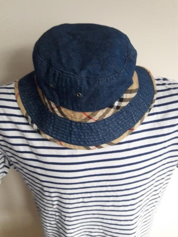 burberry london bucket hat denim & nova check cap