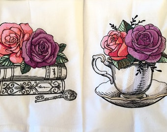 - Pink Rose Flowers by ledelena Maximalist Floral Dinner Napkins Set of 2 Romantic Rose  Pink Purple Blue Cloth Napkins by Spoonflower