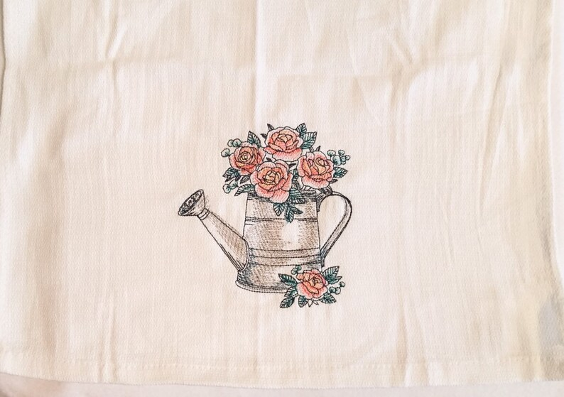 Roses in Watering Can Tea Towel