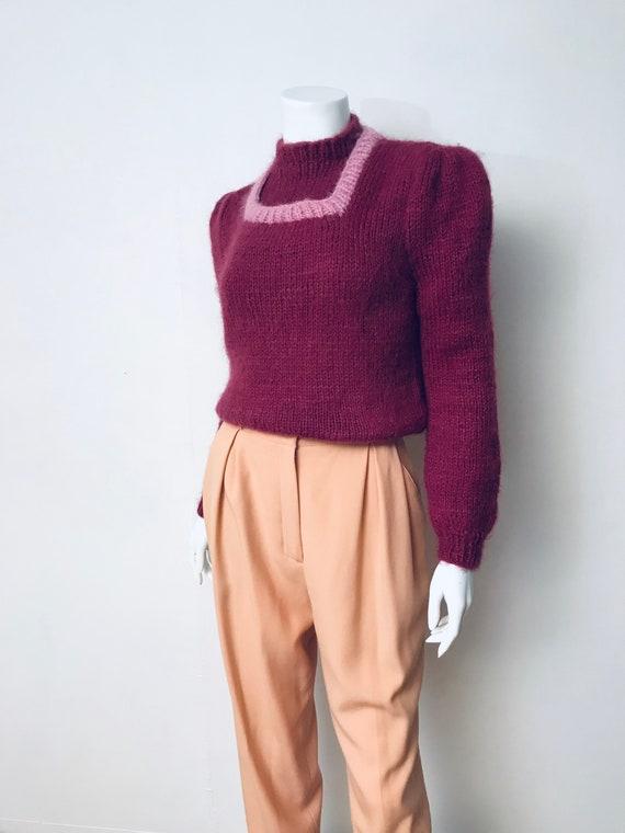 80s hand knit deep mauve puff sleeve sweater, SZ … - image 1