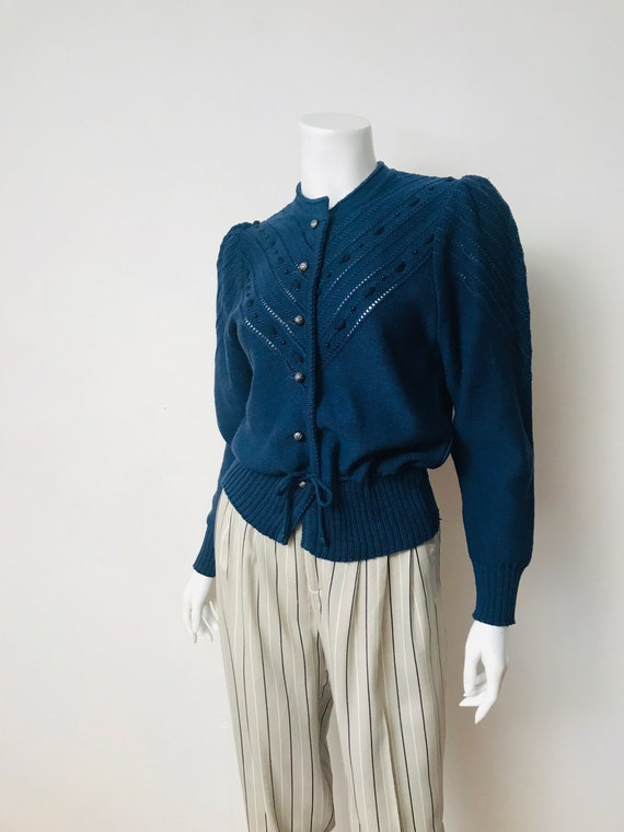 80s navy wool puff sleeve cardigan, SZ S