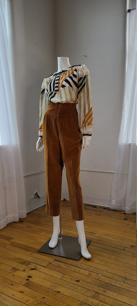 rust corduroy high waist pleated trouser | paper b