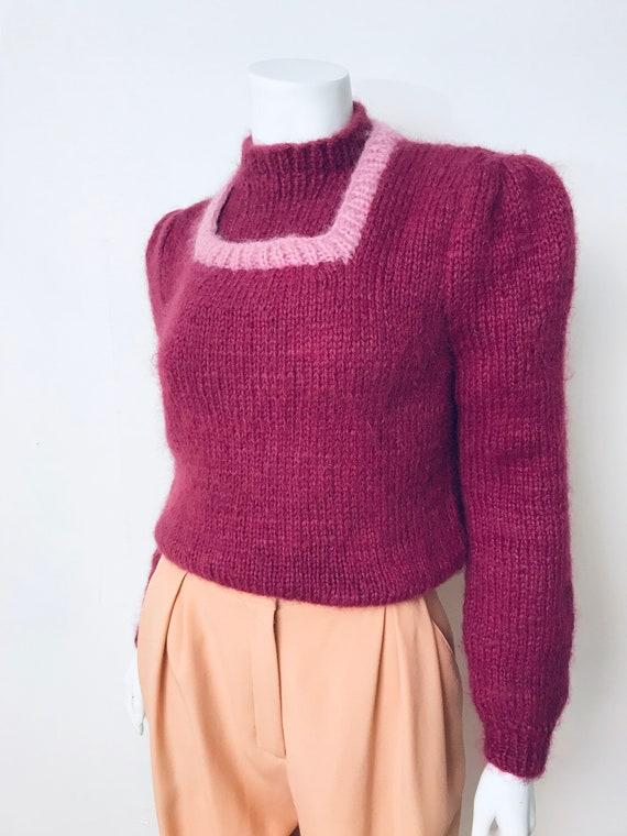 80s hand knit deep mauve puff sleeve sweater, SZ … - image 3