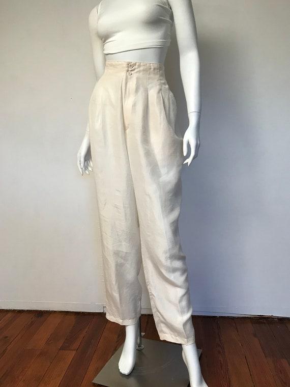 80s champagne silk track suit, SZ M/L - image 5