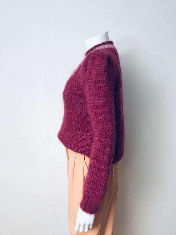 80s hand knit deep mauve puff sleeve sweater, SZ … - image 5