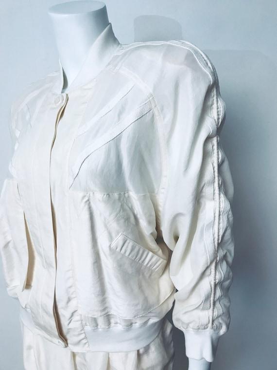 80s champagne silk track suit, SZ M/L - image 3