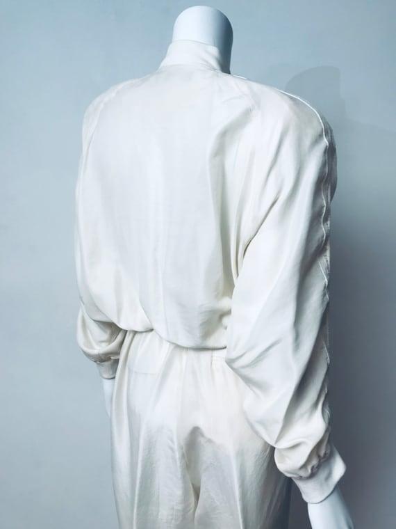 80s champagne silk track suit, SZ M/L - image 9