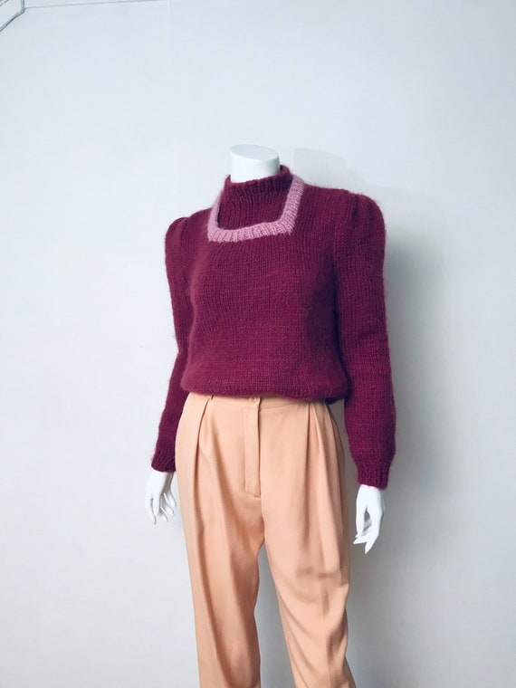 80s hand knit deep mauve puff sleeve sweater, SZ … - image 8
