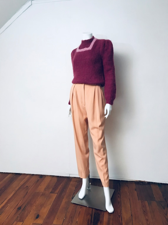 80s hand knit deep mauve puff sleeve sweater, SZ … - image 2