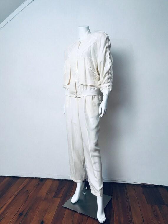 80s champagne silk track suit, SZ M/L - image 1