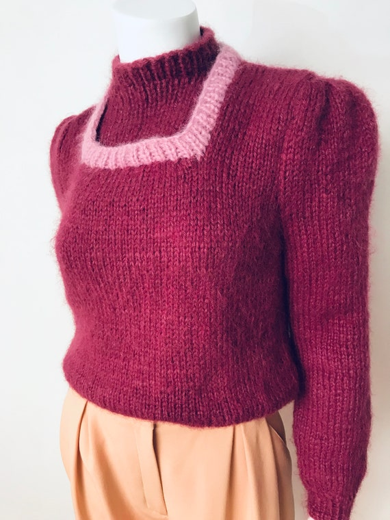 80s hand knit deep mauve puff sleeve sweater, SZ … - image 9